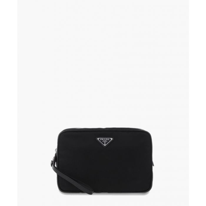 Image for Black leather zip-up bag