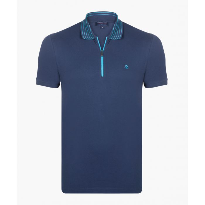 Image for Navy and turquoise polo shirt