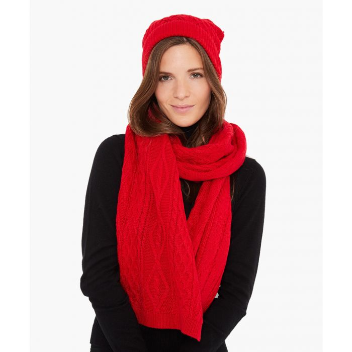 Image for 2pc berry cashmere and mohair blend scarf and cap set