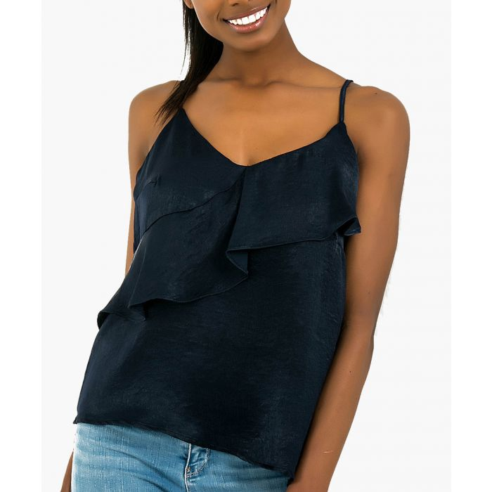 Image for Navy satin frill cami top