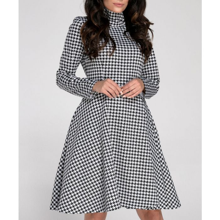 Image for Black and white gingham high collar dress
