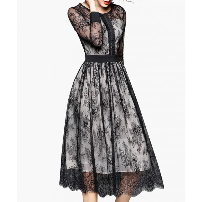 Image for Black lace overlay cropped sleeve sleeve dress