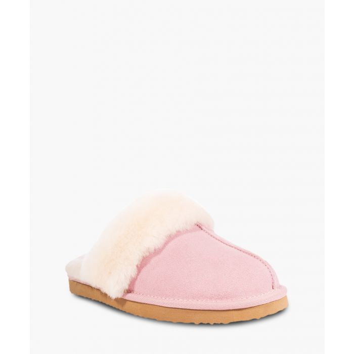 Image for Pink suede sheepskin slippers