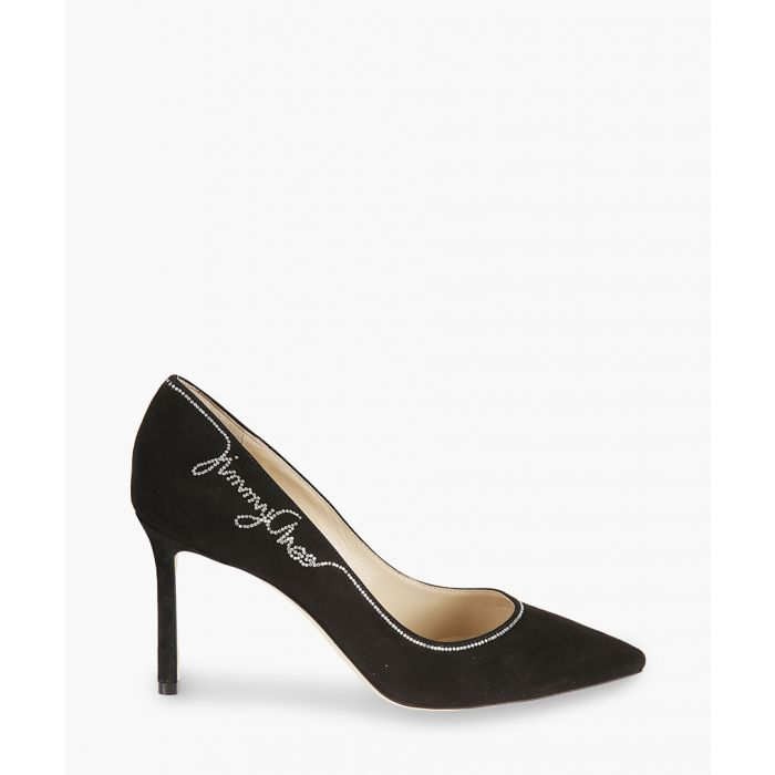 Image for Romy 85 crystal black leather pumps
