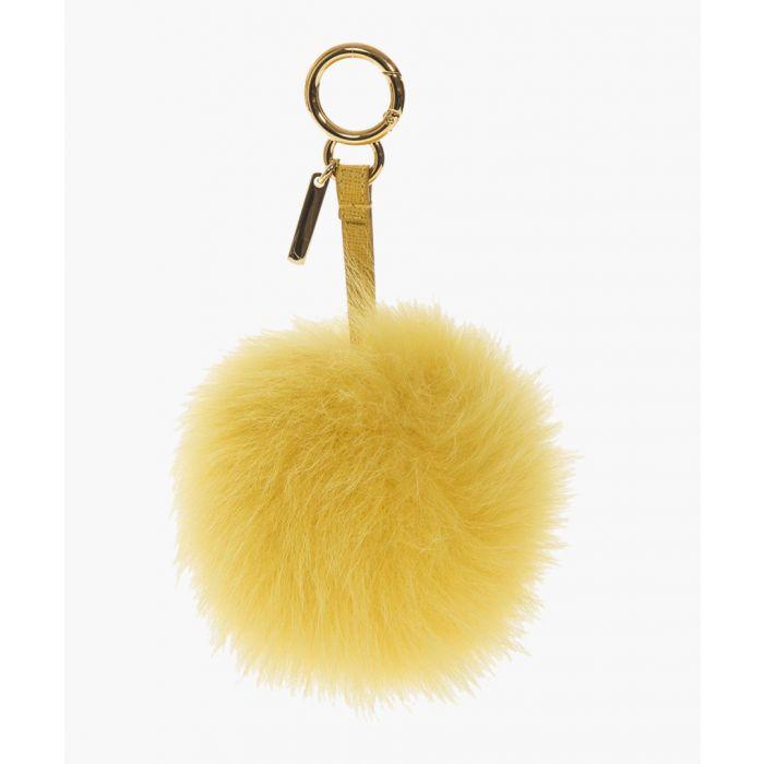 Image for Yellow fur pom-pom charm