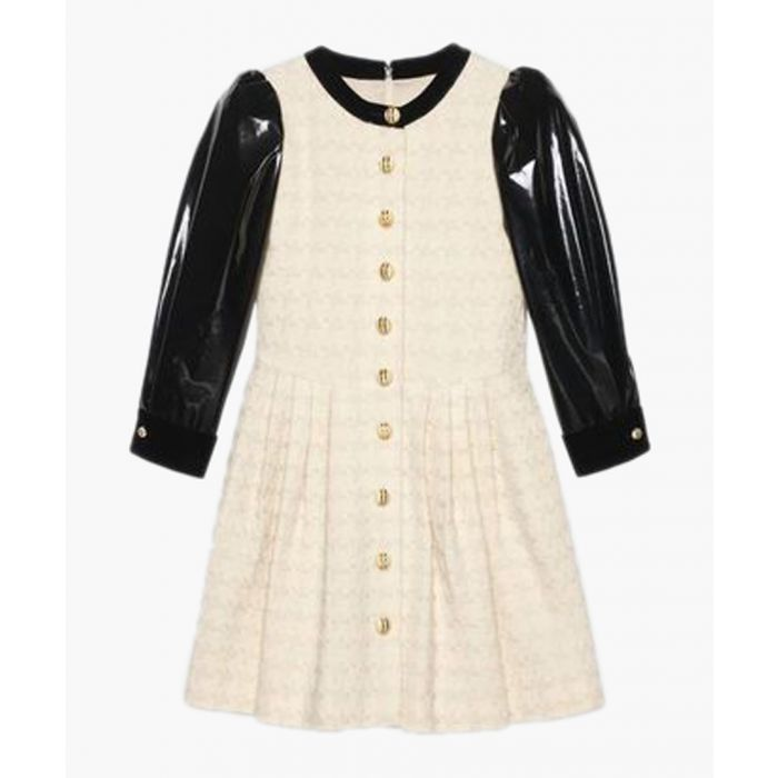 Image for Black and white wool blend houndstooth dress