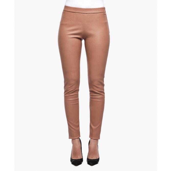 Image for Beige leather leggings