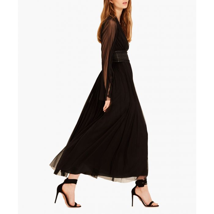 Image for Black pure silk tulle midi dress