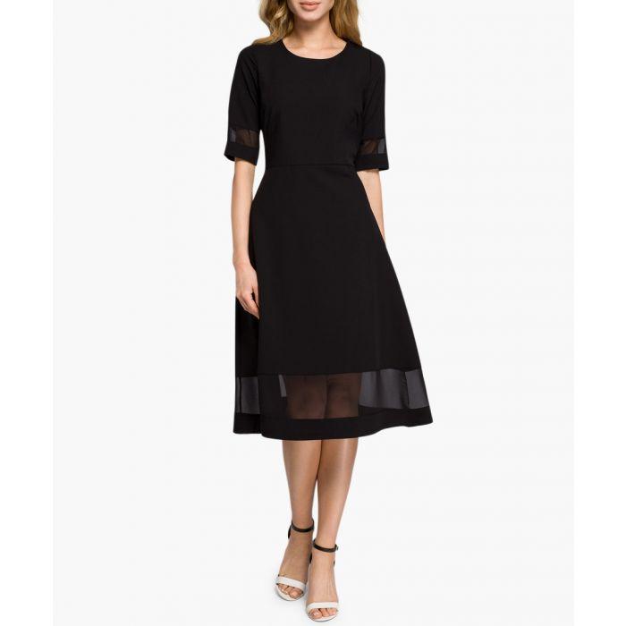 Image for Black mesh panel midi dress