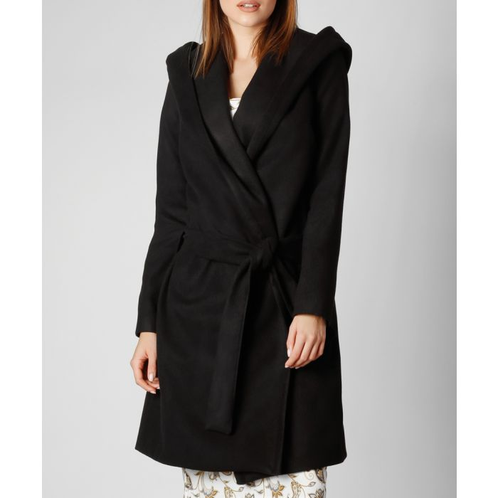 Image for Black wool and cashmere blend hooded wrap coat