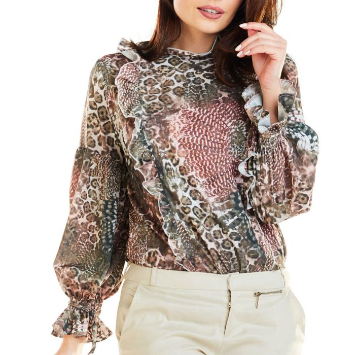 Image for Brown printed ruffle blouse