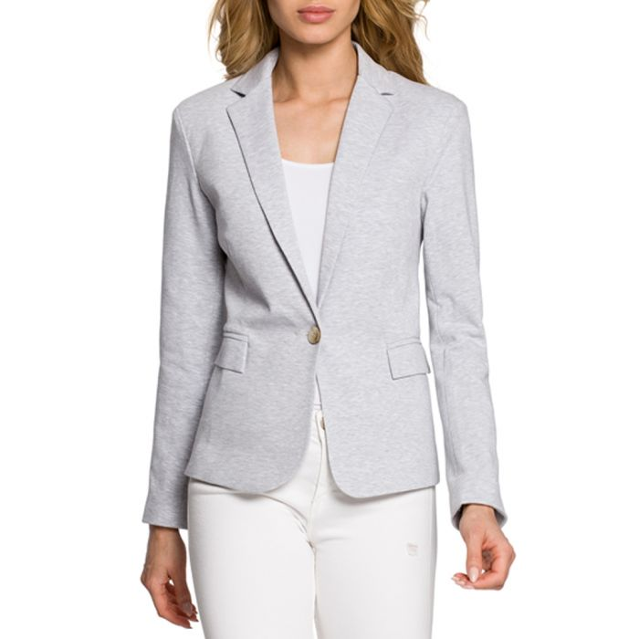 Image for light grey one-button tailored jacket