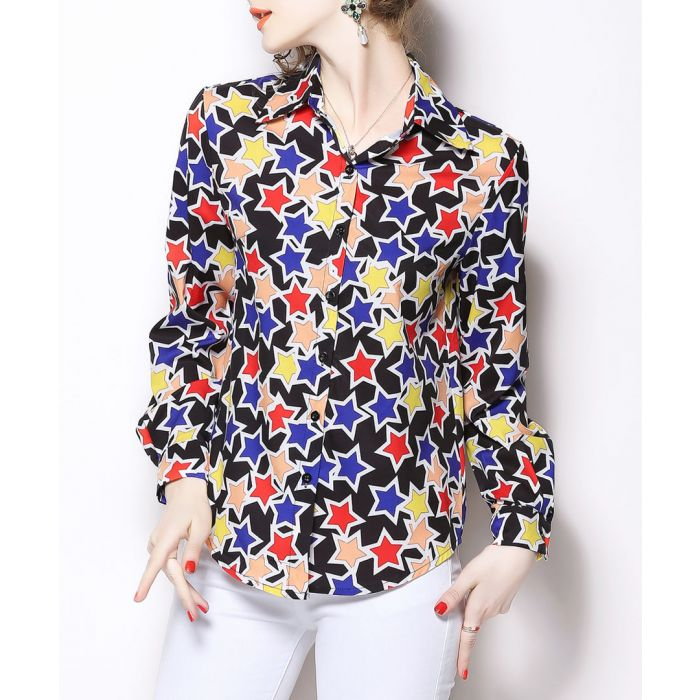 Image for Multi-coloured print long sleeve shirt