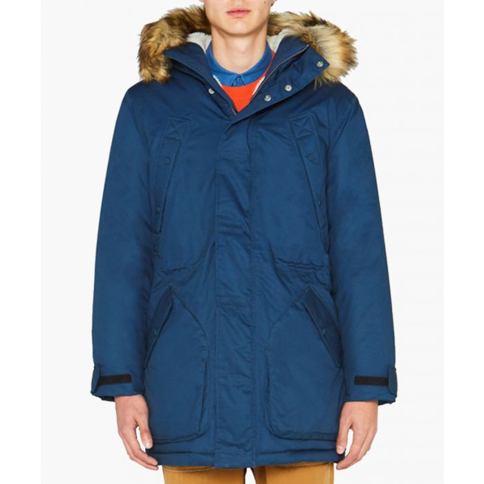 Image for Navy pure cotton parka coat