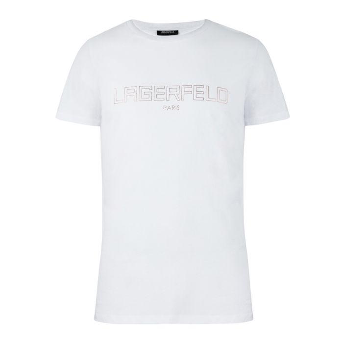 Image for White pure cotton slogan T-shirt