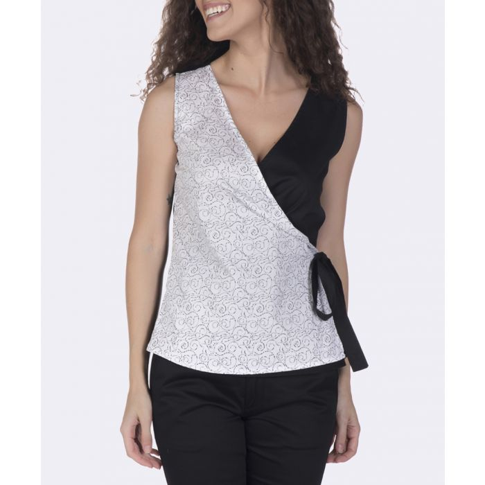 Image for Black and white pure cotton wrap top