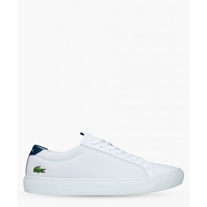 Image for White and navy leather trainers