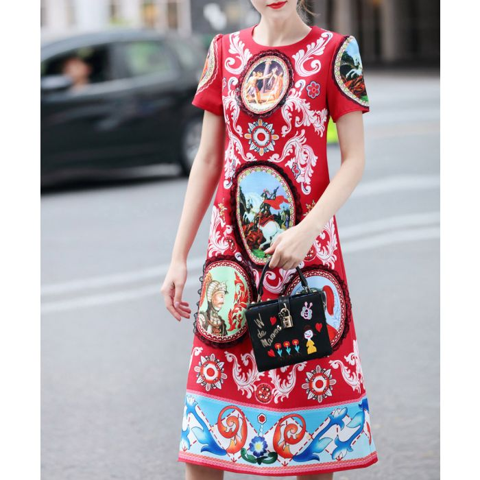 Image for Bright ted cotton blend print dress