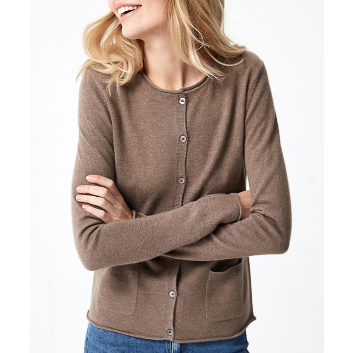 Image for Taupe pure cashmere crew cardigan