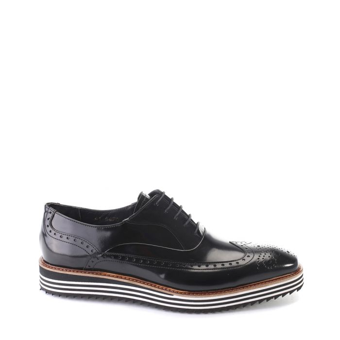Image for Black leather stripe detail brogues