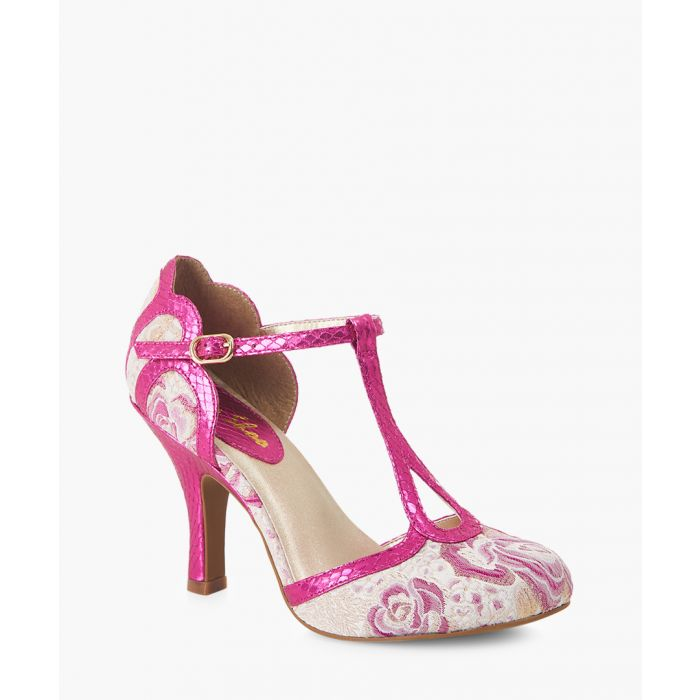 Image for Polly fuchsia lace T-bar heels