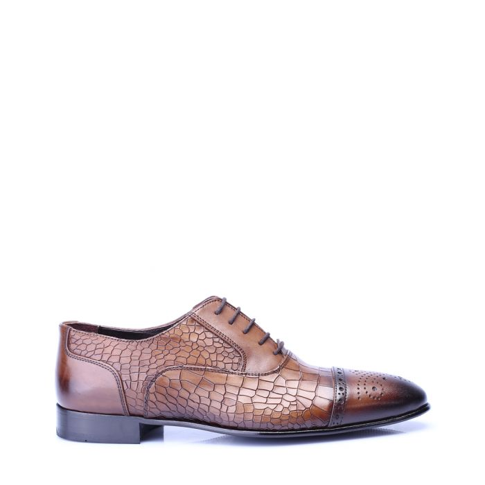 Image for Brown leather moc-croc textured Derby shoes