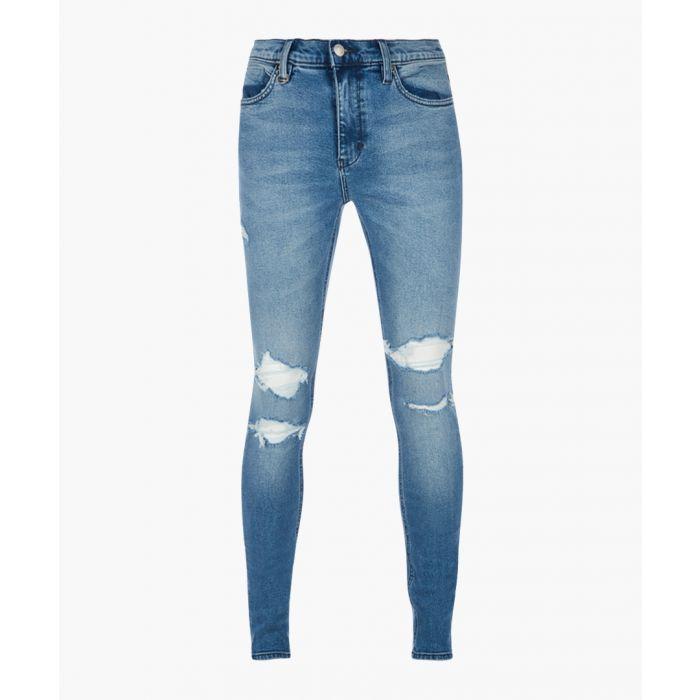 Image for Rebel mid blue distress skinny jeans