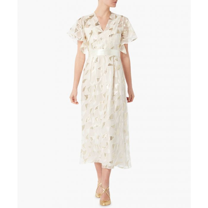 Image for Evangelina cream and gold-tone midi dress