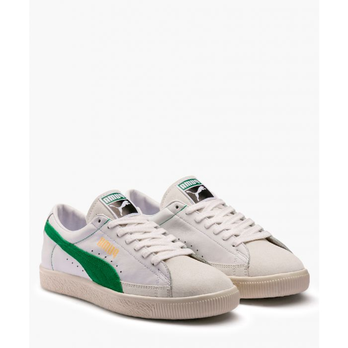 Image for White and green low-top trainers