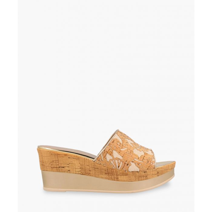 Image for Beige cork-effect espadrille wedges