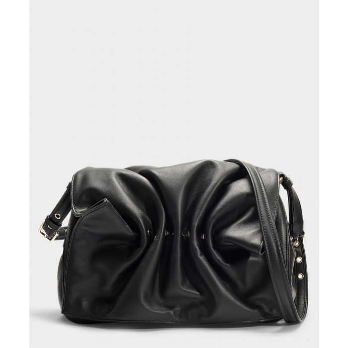 Image for Bloomy black leather shoulder bag