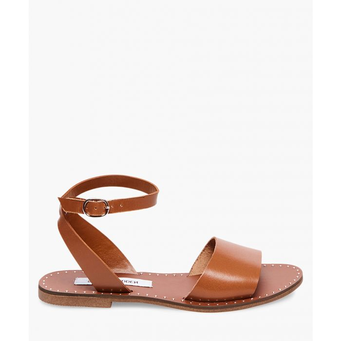 Image for Danny cognac faux leather flat sandals