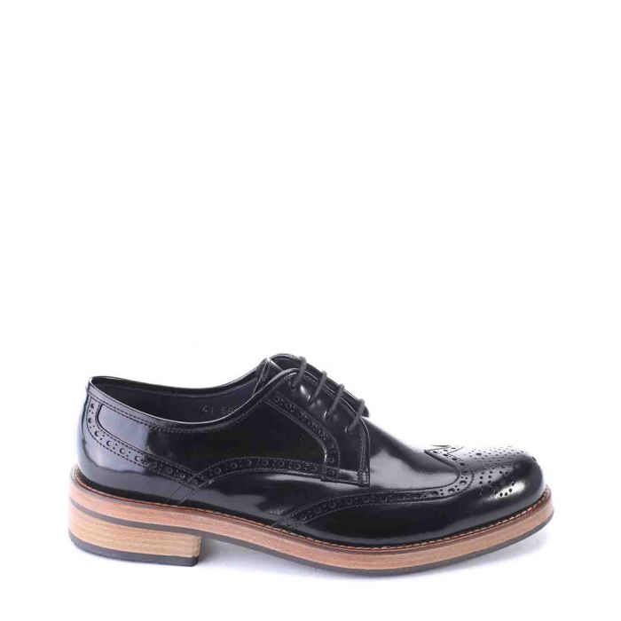 Image for Black patent perforated brogues
