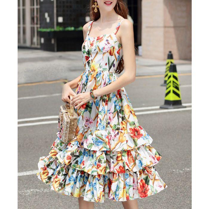 Image for Multi-coloured cotton blend dress