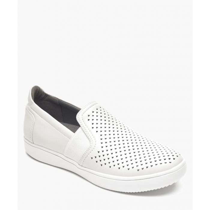 Image for Ariell white perforated slip-on pumps