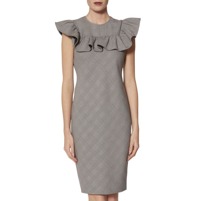 Image for Lorella greyscale check ruffle dress