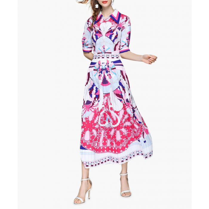 Image for White & pink print shirt midi dress