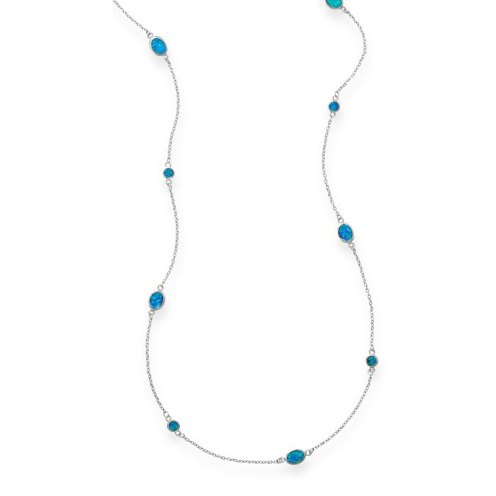 Image for Rhodium-plated sterling silver and opal necklace