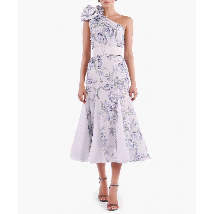 Image for white floral one-shoulder midi dress