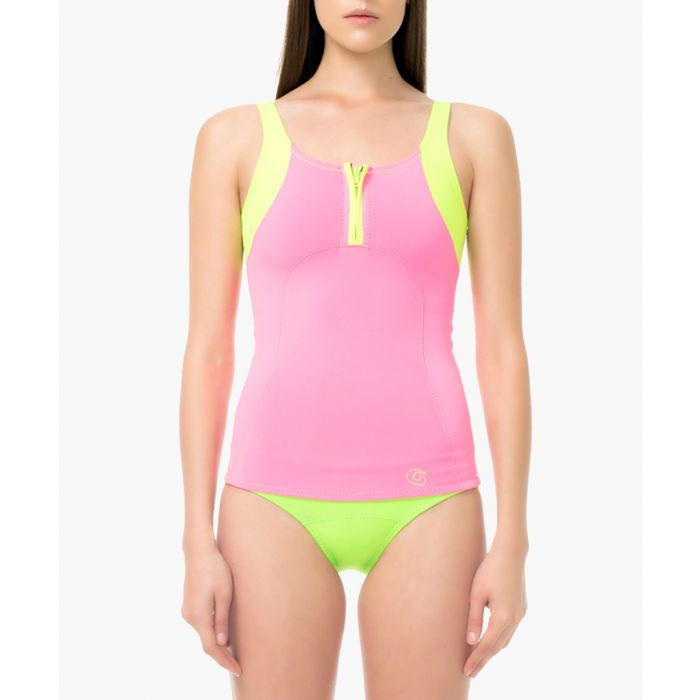 Image for pink and fluo swim top