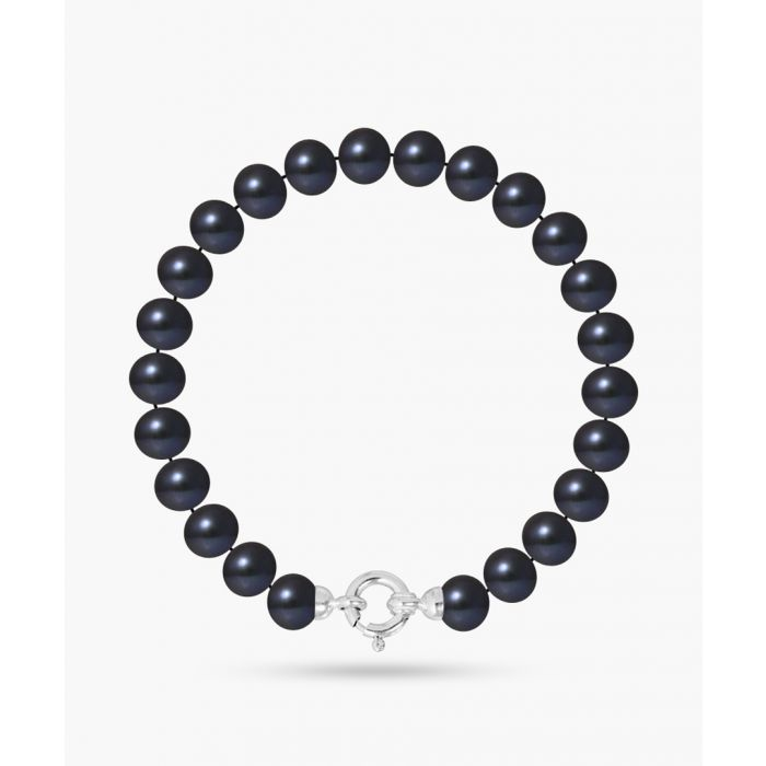 Image for Gold-plated and black freshwater pearl semi-round bracelet