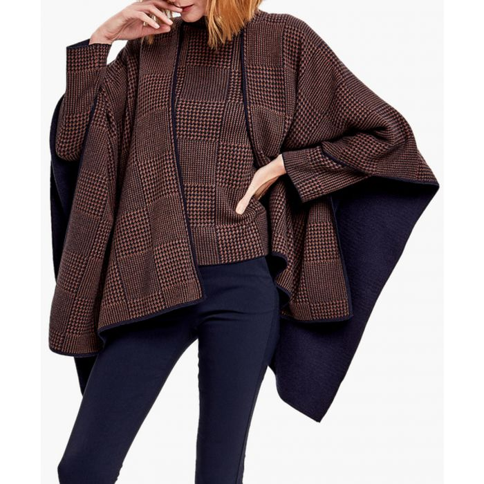 Image for Navy and brown cashmere blend cardigan