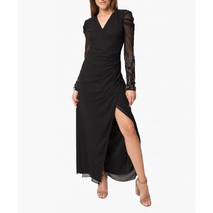 Image for Black V-Neck Slit Maxi Dress