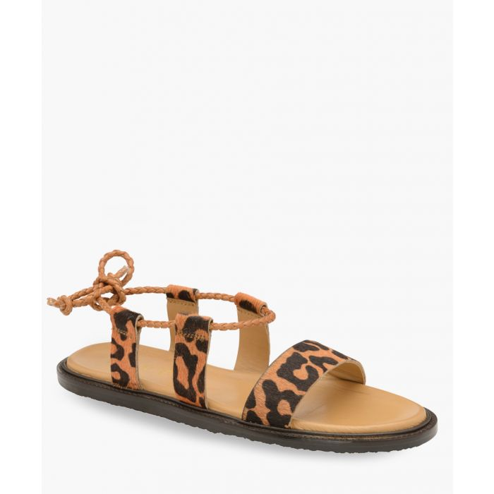 Image for Leopard print tie-back sandals