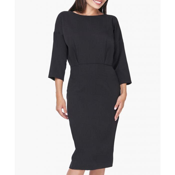 Image for Black cropped sleeve sleeve midi dress