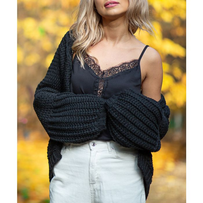Image for Black knitted alpaca and wool blend cardigan