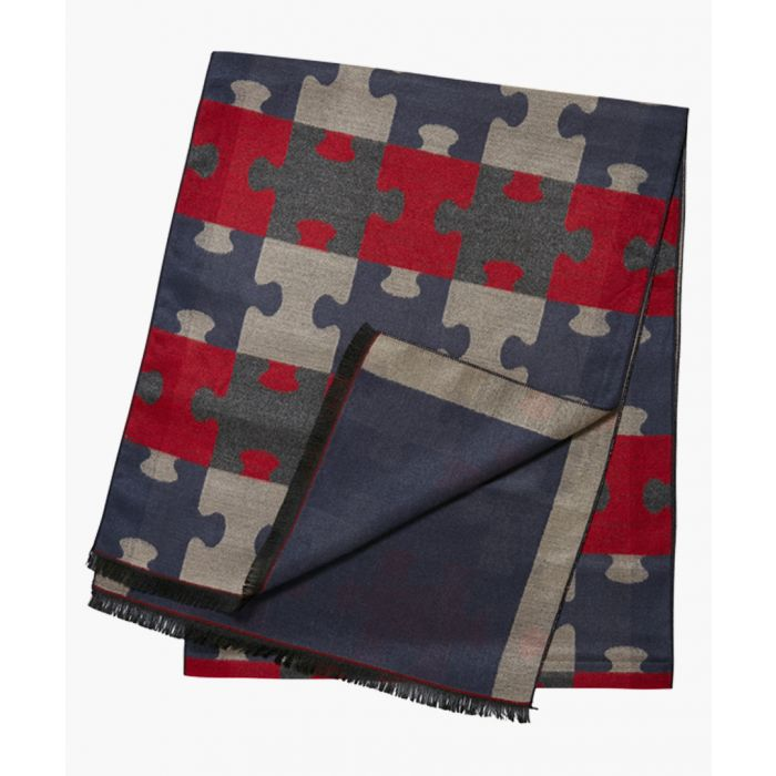Image for Blue and red puzzle scarf
