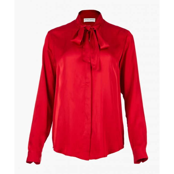 Image for Red tie-neck shirt