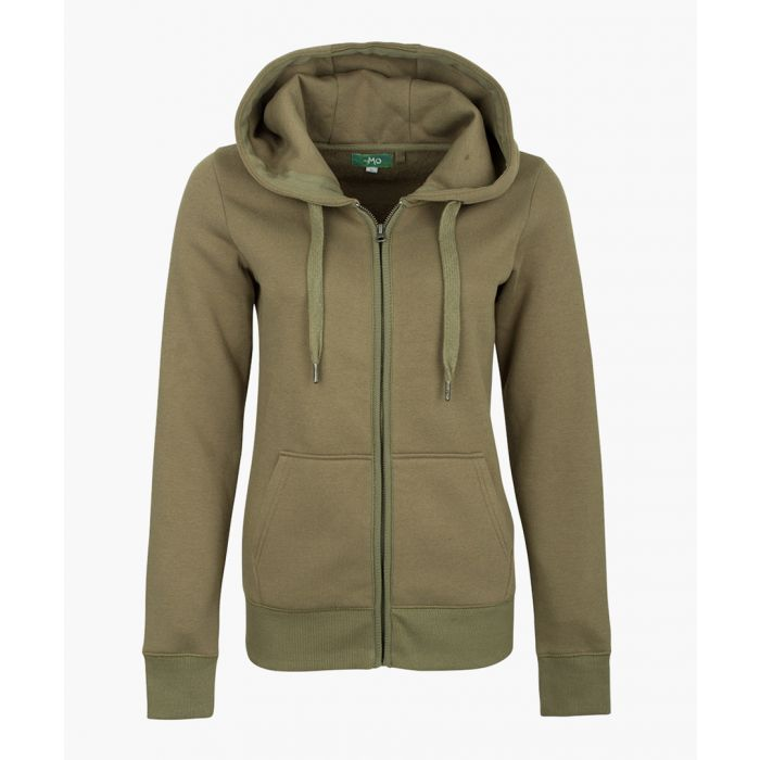 Image for Olive cotton blend zip-up hoodie
