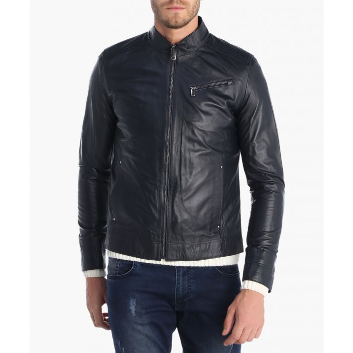Image for Navy leather jacket